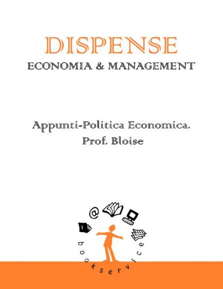 Appunti-Politica Economica. Prof. Bloise